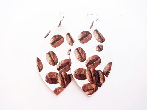 Coffee Bean Leaf Vegan Leather Earrings