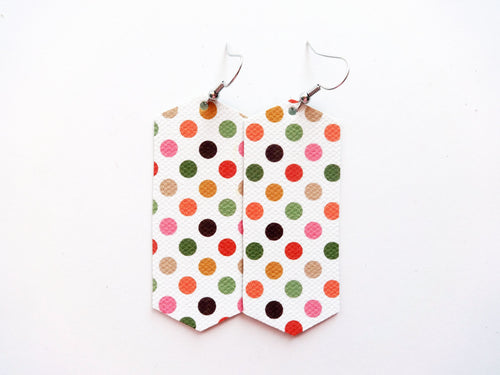 Autumn Dots Crystal Vegan Leather Earring