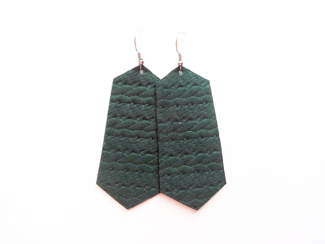 Green Nautical Woven Jewel Vegan Leather Earring