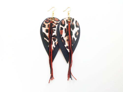 OOAK Double Tassel Feather Vegan Leather Earrings