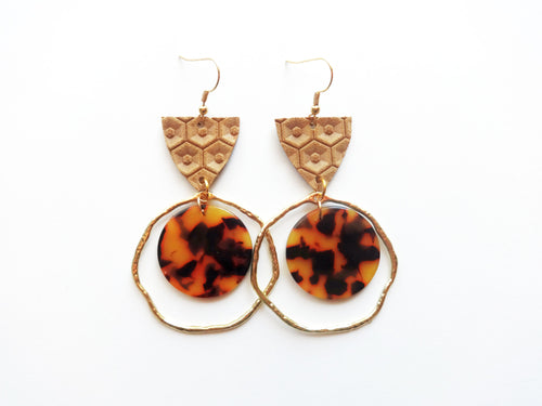 Tan Honeycomb Genuine Leather Tortoise Acrylic & Metal Earring