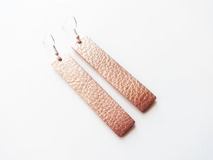 Rose Gold Bar Genuine Leather Earring
