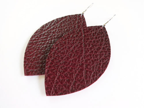 Tawny Port Red Leaf Genuine Leather Earring