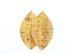 Gold Flecked Cork Leaf Vegan Leather Earrings