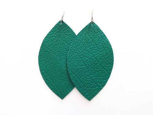 Shaded Spruce Leaf Genuine Leather Earring