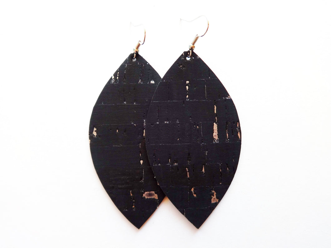 Black Silver Flecked Cork Leaf Vegan Leather Earrings