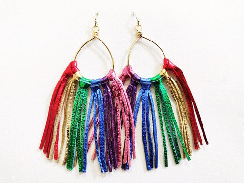 Medium Rainbow Pride Fringie Genuine Leather Earrings