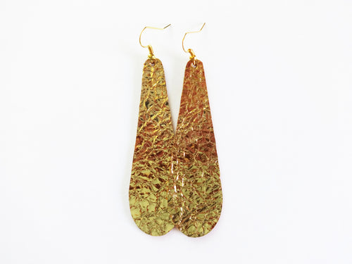 Go For Gold Teardrop Genuine Leather Earring