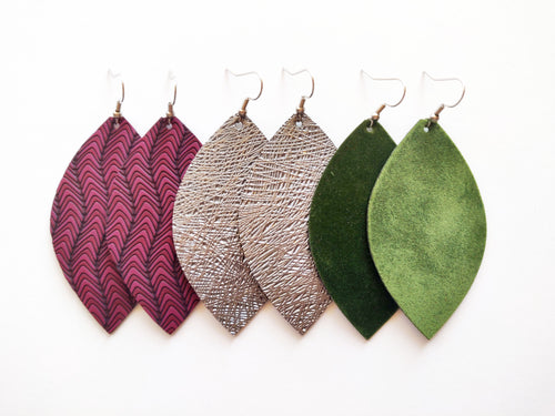 Maroon, Gunmetal, and Green Leaf Vegan Leather Gift Set