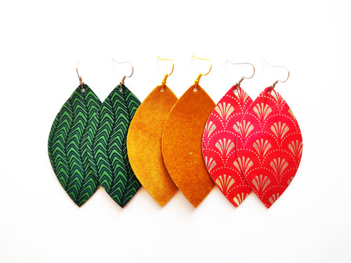 Green, Mustard, and Red Leaf Vegan Leather Gift Set