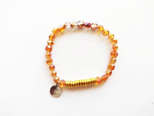 Sparkles Amber and Gold Beaded Bracelet