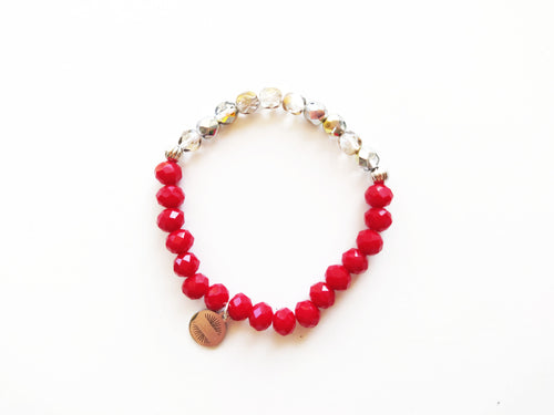 Sparkles Red and Silver Beaded Bracelet