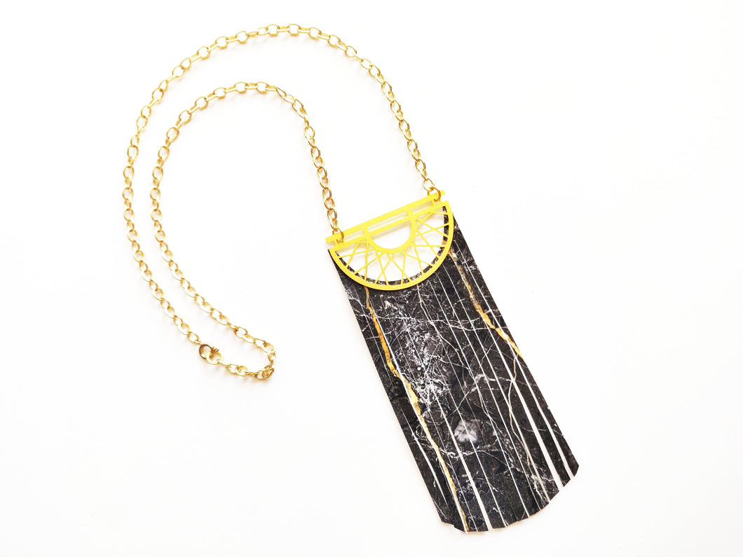 The Trixie Marble Fringe Bib Necklace