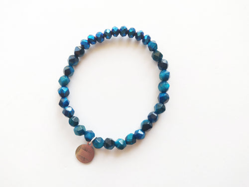 Jewel Tone Teal and Blue Beaded Bracelet