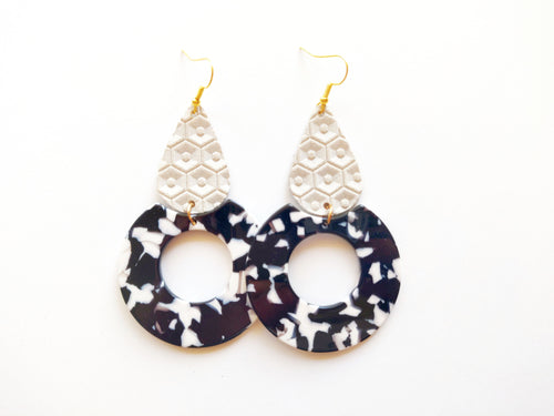 Cream Honeycomb Genuine Leather Marbled Acrylic Hoop Earring