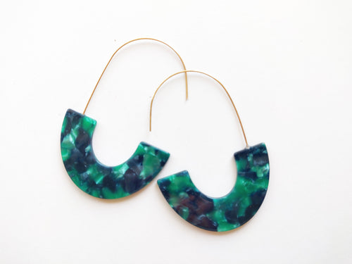 Green and Navy Marbled Acrylic Half Hoop Threader Earrings