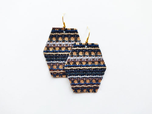 Golden Blue Stripe Hexagon Vegan Leather Earring