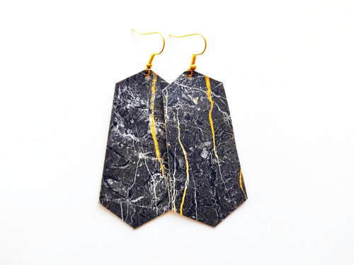 Marble Jewel Vegan Leather Earring