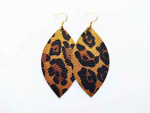 Golden Leopard Leaf Vegan Leather Earrings