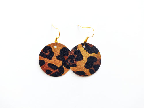 Golden Leopard Round Vegan Leather Earring