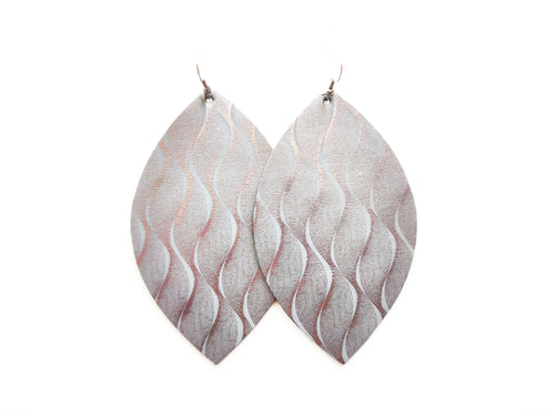 Silver Squiggle Leaf Vegan Leather Earrings