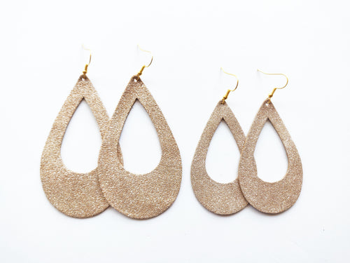 Gold Dust Cutout Teardrop Genuine Leather Earring