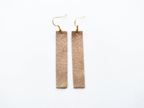 Gold Dust Bar Genuine Leather Earring