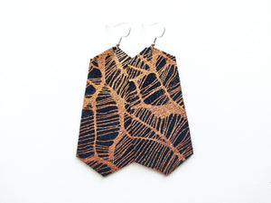 Rose Gold Webs Jewel Genuine Leather Earring