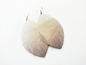 Silver Saffiano Feathered Leaf Genuine Leather Earring