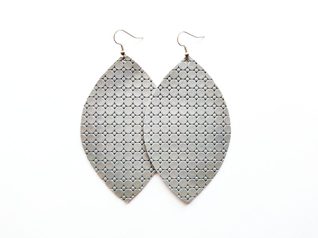 Metallic Grey Dots Leaf Genuine Leather Earring