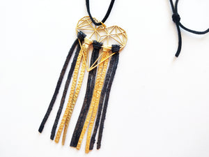 Heart Tassel Bib Necklace