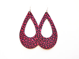 Pink Pebble Cutout Genuine Leather Earring / Teardrop