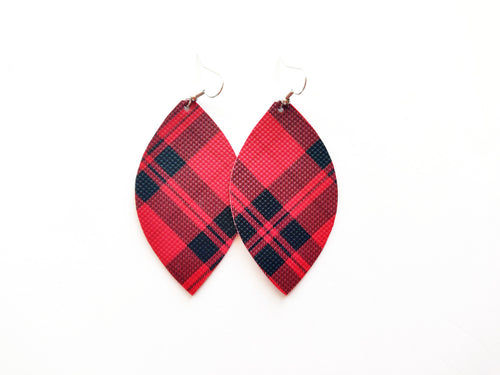 Red Plaid Leaf Vegan Leather Earrings