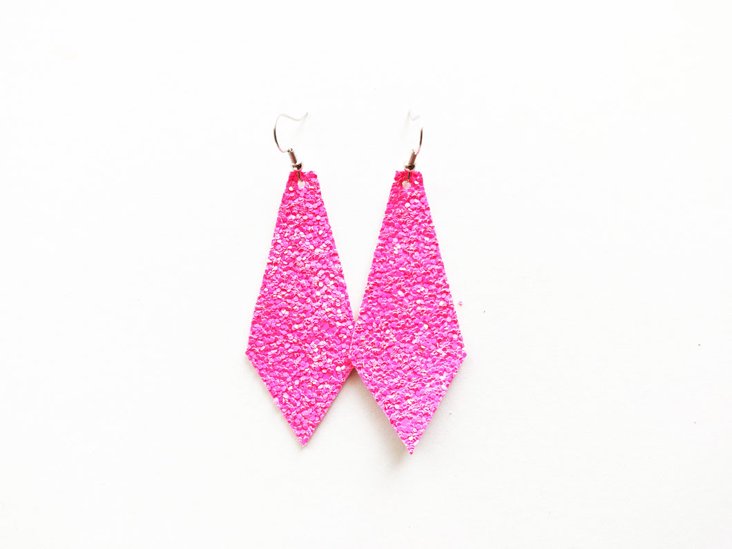 Barbie Girl Glitter Diamond Vegan Leather Earring