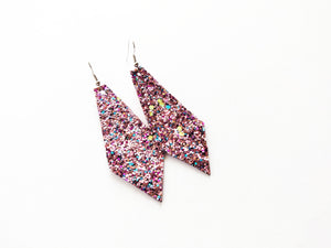 Bubblegum Glitter Diamond Vegan Leather Earring