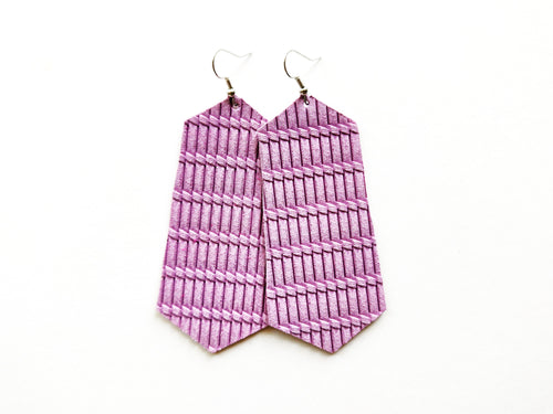 Lilac Purple Knot Jewel Genuine Leather Earring