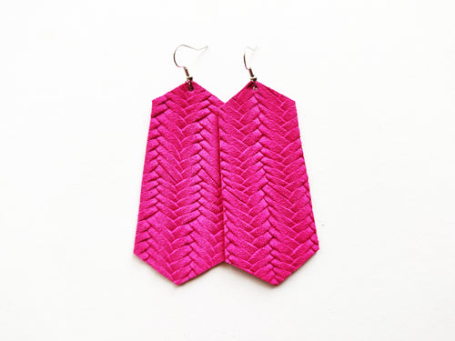 Hot Pink Braided Jewel Genuine Leather Earring