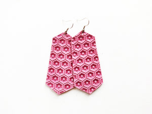 Dusty Rose Honeycomb Jewel Genuine Leather Earring