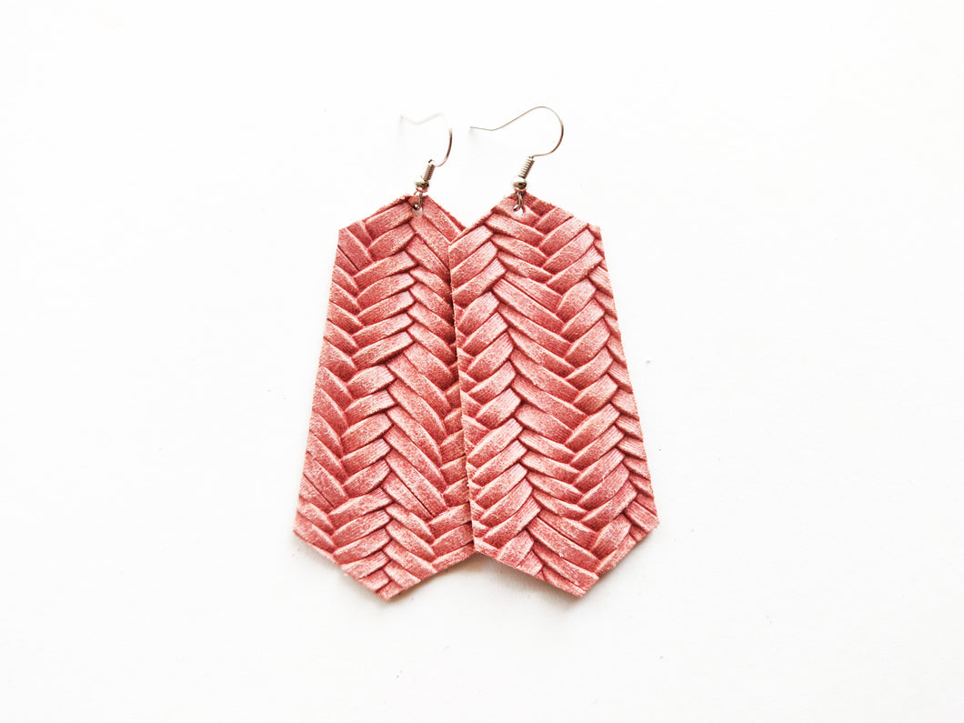Dusty Rose Braided Jewel Genuine Leather Earring