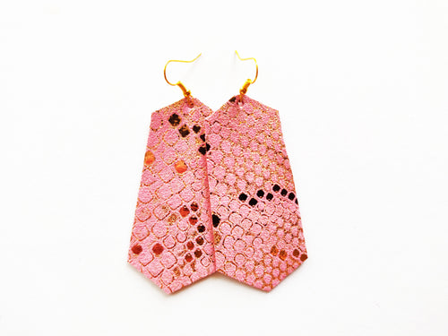 Pink Snakeskin Jewel Genuine Leather Earring