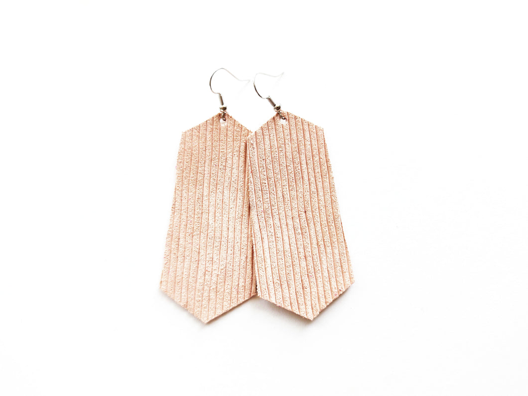 Nude Blush Rope Jewel Genuine Leather Earring