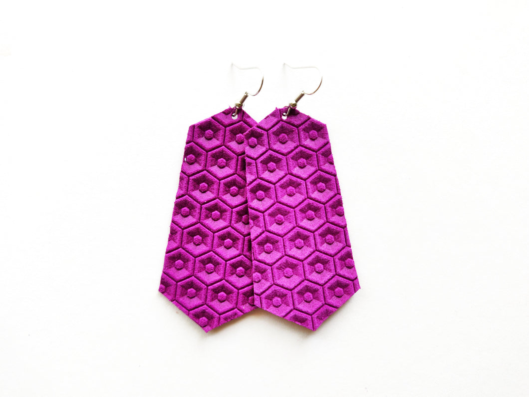 Grape Purple Honeycomb Jewel Genuine Leather Earring