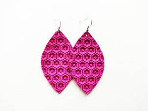 Hot Pink Honeycomb Leaf Genuine Leather Earring