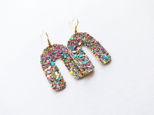 Rainbow Glitter The You Vegan Leather Earring