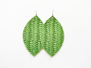 Lime Green Braided Leaf Genuine Leather Earring