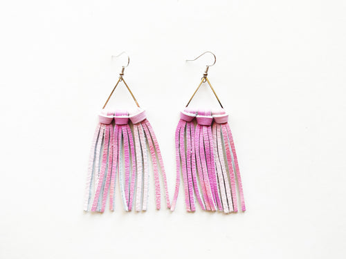 Small Painted Desert Pink Triangle Fringie Genuine Leather Earrings