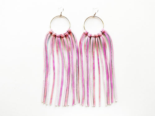 Large Painted Desert Pink Fringie Genuine Leather Earrings
