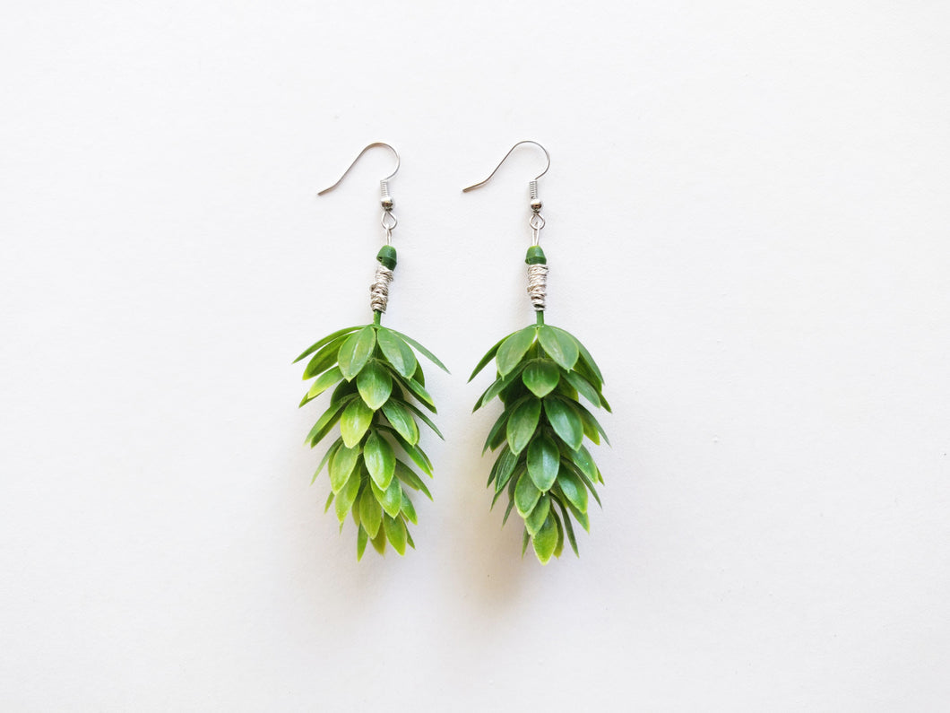 Wire Wrapped Hop Plant Green Beer Earrings