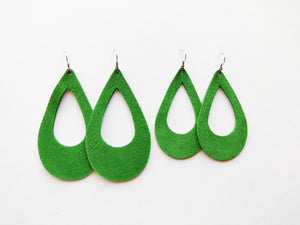 Green Suede Cutout Teardrop Genuine Leather Earring
