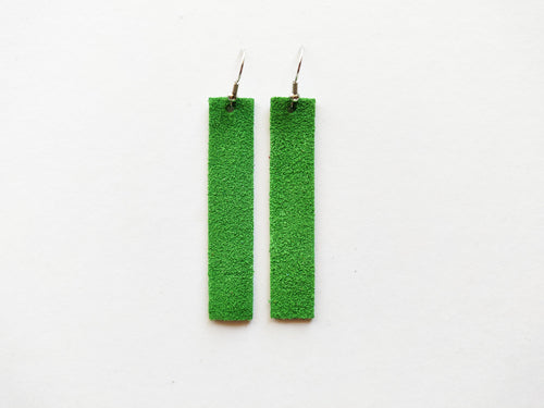 Green Suede Bar Genuine Leather Earring